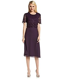R&M Richards® Petites' Lace Popover Dress