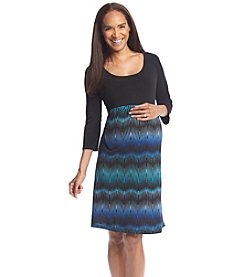 Three Seasons Maternity™ Solid Top Print Skirt Dress