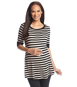 Three Seasons Maternity™ Short Sleeve Stripe Flair Top