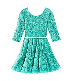 Beautees Girls' 7-16 Emerald Lace Skater Dress With Belt