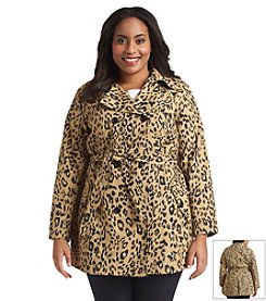 Relativity® Plus Size Printed Double-Breasted Trench
