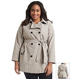 Relativity® Plus Size Double-Breasted Trench