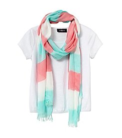 Amy Byer Girls' 7-16 Short Sleeve Top With Striped Scarf