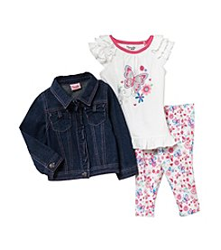 Nannette® Girls' 4-6X White Top With Leggings And Jean Jacket Set
