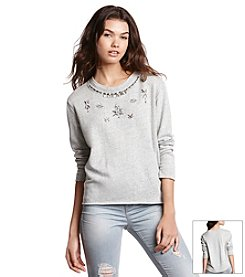 KIIND OF Beaded Necklace Sweatshirt