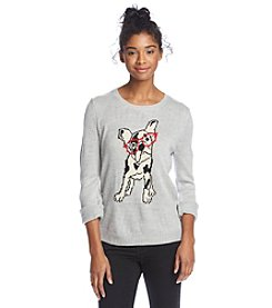Sequin Hearts® Hipster Bulldog Sweater