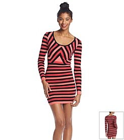 Sequin Hearts® Striped Sweater Dress