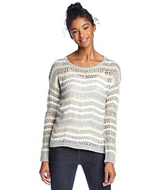 Jolt® Striped Open Weave Sweater