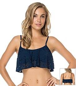 Jessica Simpson Sea Glass Flounce Crop Top