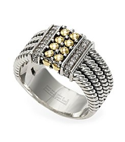 Effy® 0.12 ct. t.w. Diamond Ring in Sterling Silver & 18K Gold