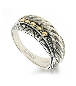 Effy® 0.05 ct. t.w. Diamond Ring in Sterling Silver & 18K Gold
