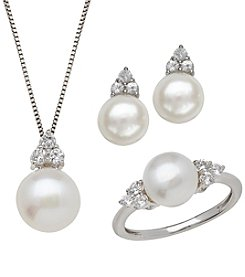 Cultured Freshwater Pearl & Lab-Created White Sapphire Box Set in Sterling Silver