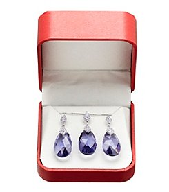 Purple Crystal Box Set in Sterling Silver
