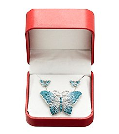Blue Crystal Butterfly Box Set in Sterling Silver
