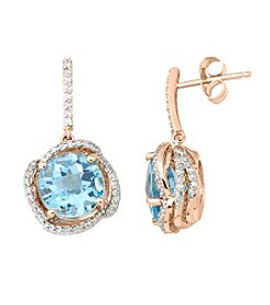 Blue Topaz and 0.38 ct. t.w. Diamond Earrings in 10K Rose Gold