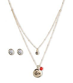 Nine West Vintage America Collection® Double Pendant Goldtone Necklace & Earrings Set