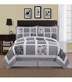 American Traditions® Black and White Window Pane Mini Quilt Set