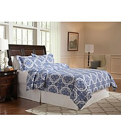 Pointehaven Alpine Blue UltraSoft Flannel Duvet Set