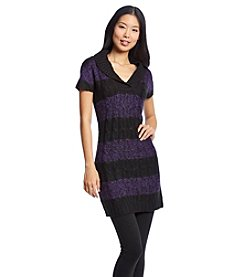 Notations® Shawl Collar Stripe Sweater Dress