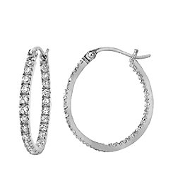 Designs by FMC Sterling Silver Oval Pave Cubic Zirconia Hoop Earrings