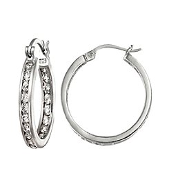 Designs by FMC Sterling Silver Round Channel Set CZ Hoop Earrings