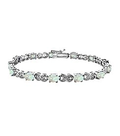 Designs by FMC Silver-Plated Diamond Accent Bracelet with 12 Lab Created Opal Gemstones