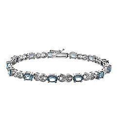 Designs by FMC Silver-Plated Diamond Accent Bracelet with 12 Genuine Blue Topaz Gemstones