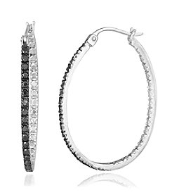 Designs by FMC Silver-Plated Inside-out Black Diamond Accent Hoop Earrings