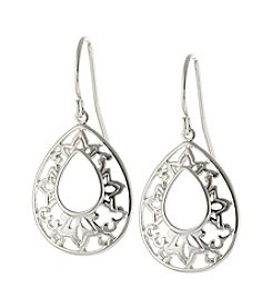 Athra Silver-Plated Open Filigree Teardrop Earrings