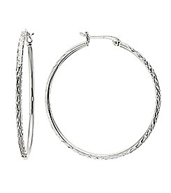 Athra Silver-Plated Diamond Cut Hoop Earrings