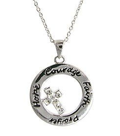 Athra Silver-Plated Inspirational Ring with Crystal Cross Pendant Necklace