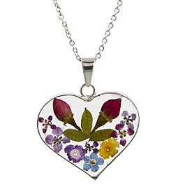 Athra Silver-Plated Dried Flowers Pendant Necklace