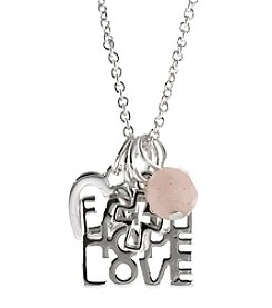 Athra Silver-Plated Inspirational Tags with Crystals Necklace