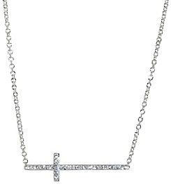 Athra Silver-Plated Crystal Cross Necklace