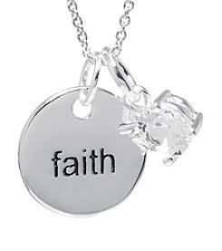 Athra Silver-Plated Faith Tag and Crystal Necklace