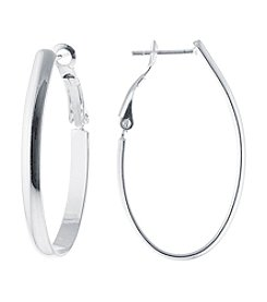 Athra Silver-Plated Oval Hoop Earrings