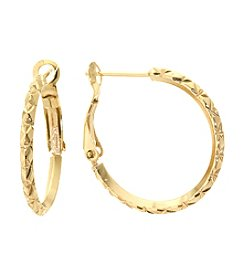 Athra Gold-Plated Diamond Cut Hoop Earrings