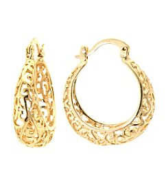 Athra Gold-Plated Filigree Hoop Earrings