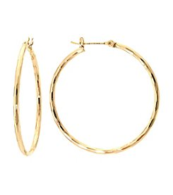 Athra Gold-Plated Textured Hoop Earrings