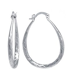 Athra Silver-Plated Diamond Cut Oval Hoop Earrings