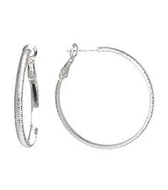 Athra Silver-Plated Textured Hoop Earrings