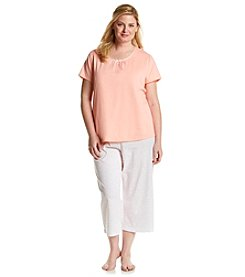 Intimate Essentials® Plus Size Satin Trim Pajama Set