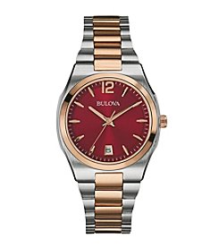 Bulova® Women's Two Tone Watch with Red Dial
