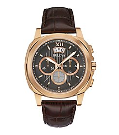 Bulova® Men's Brown Leather Strap Chronograph Watch
