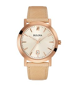 Bulova® Unisex Tan Strap Watch *