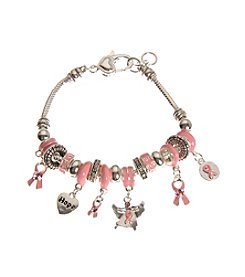 L&J Accessories Believe In - Breast Cancer Charm Bracelet
