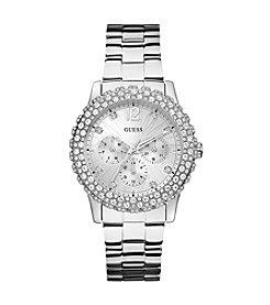GUESS Shimmering Silvertone Sport Watch
