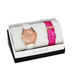 Guess Rose Goldtone Clearly Inspired Heart Set with Two Straps