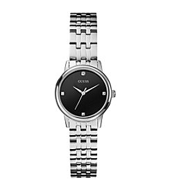 Guess Sophistication Silvertone Diamond Black Dial Watch