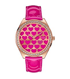 Guess Dazzling Hearts Oversize Rose Goldtone Sport Watch